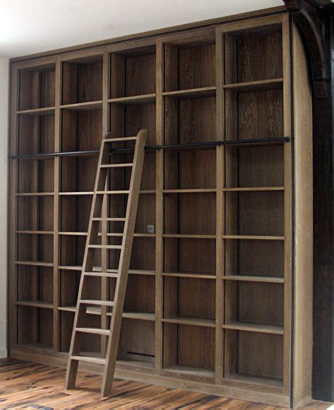 Bookcase With Library Ladder Ladder Rail Looks Like A Better Way In Terms Of Cost And Storing The Ladder When Needed To