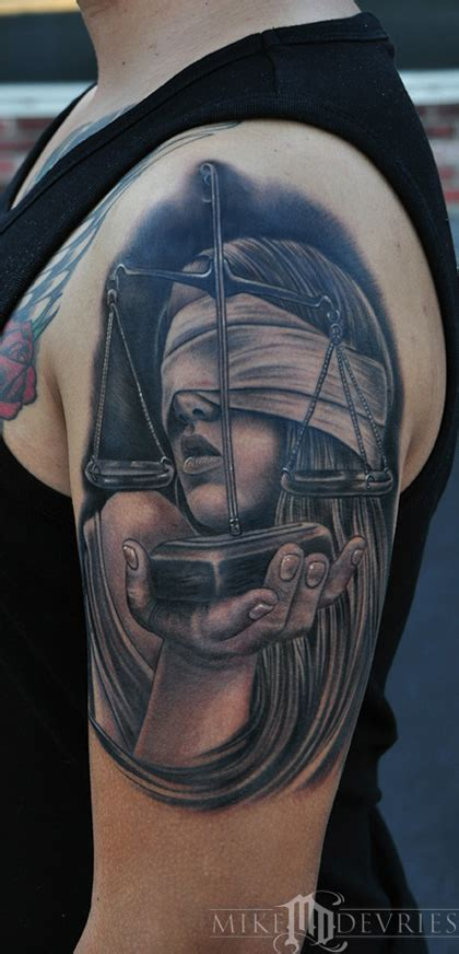 lady justice tattoo justice by mike devries tattoos