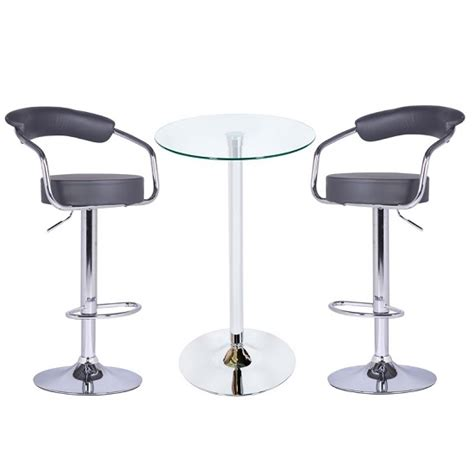 Glass Bar Table And Stools Bente Glass Bar Table In Clear With 2 Zenith Grey Bar