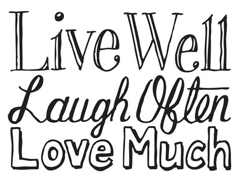 coloring pages live love laugh hand drawn words live well laugh often love much by