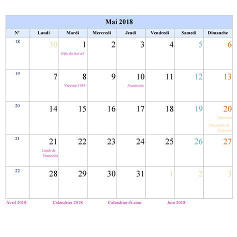 Calendrier 2018 Mai Calendrier Mai 2018 224 Imprimer Gratuit En Pdf Et Excel