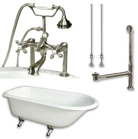 cast iron bathtub faucets cast iron rolled rim tub 61 quot telephone faucet brushed
