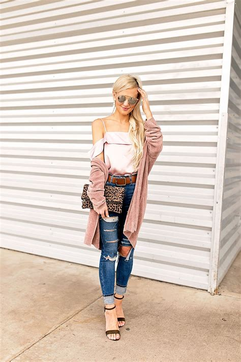 High Waist Ripped blush silk top and ripped high waisted