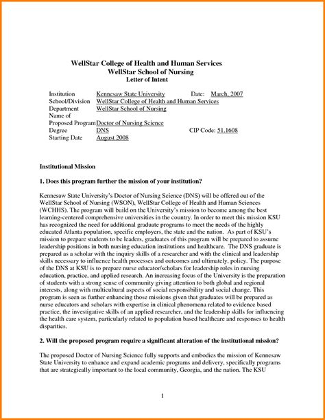 Letter Of Intent Masters Format 8 Letter Of Intent Exle Graduate School Monthly Bills Template