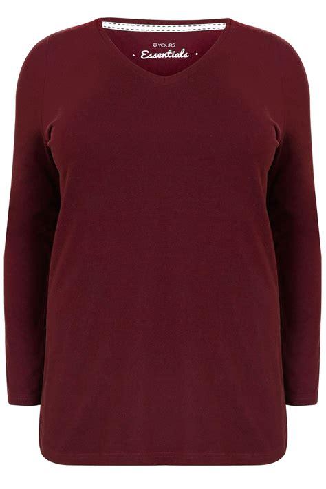 Sleeve V Neck Plain T Shirt burgundy sleeve v neck plain t shirt plus 16 18 20