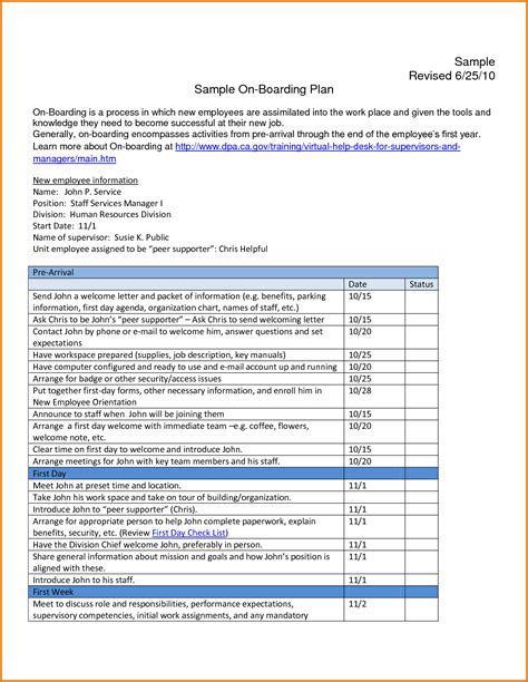 employee onboarding template 29 images of new employee onboarding plan template