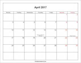 April Calendar Template by April 2017 Calendar Printable With Holidays Weekly