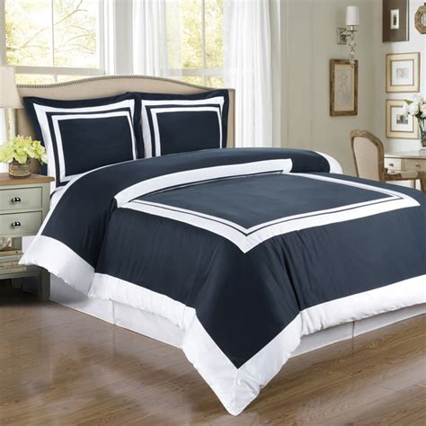 navy and white king size hotel navy white cotton duvet cover set king cal king 3pc