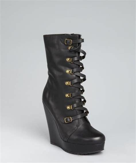 kelsi dagger black leather hettie buckle wedge boots