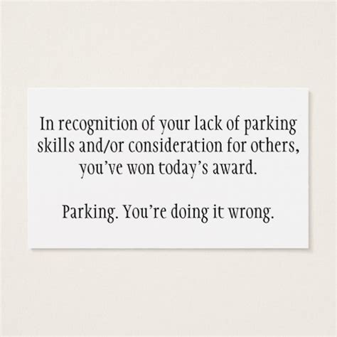 bad parking business card template bad parking cards poque cards