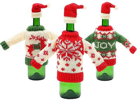 aytai 3pcs ugly christmas sweater wine bottle cover handmade wine bottle sweater for christmas decorations ugly christmas sweat 10 sweaters for your liquor bottle drink galleries paste