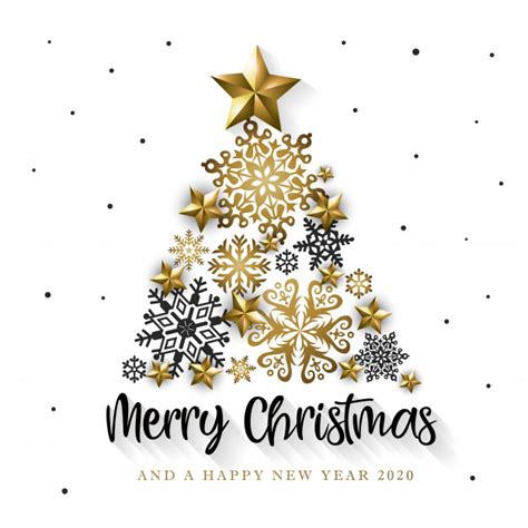 white golden merry christmas  happy  year  greeting card vector premium