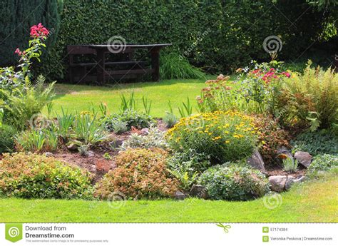 Flowers From Many Gardens Rock Garden Stock Photo Image 57174384