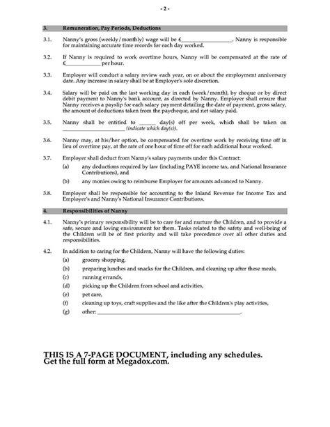 nanny contract template uk sampletemplatess