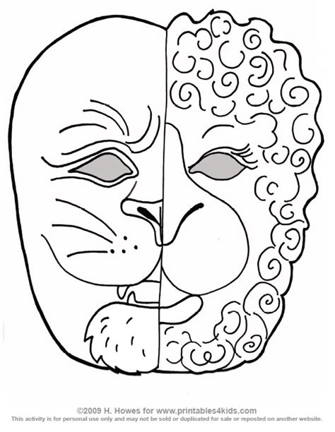 lion mask coloring pages grig3 org
