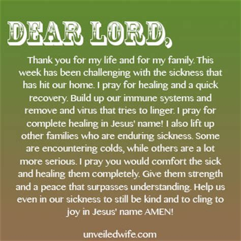 in the comfort of my home prayer of the day when sickness hits homes
