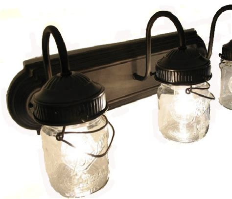 farmhouse bathroom light fixtures bathroom vanity bar trio light fixture of pint mason jars