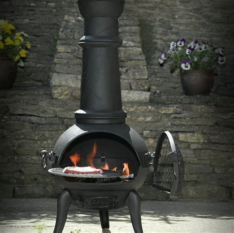 chiminea covered patio chiminea patio heater and swing grill by oxford barbecues
