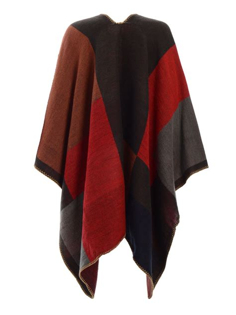 womens knit poncho womens checked knitted winter tartan cape stylished