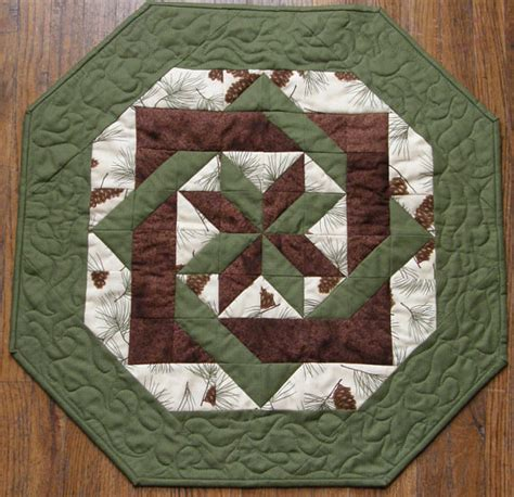 Quilted Table Toppers fall quilted table topper brown green pine by