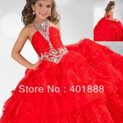 red kids beautiful model ball gown latest organza fancy