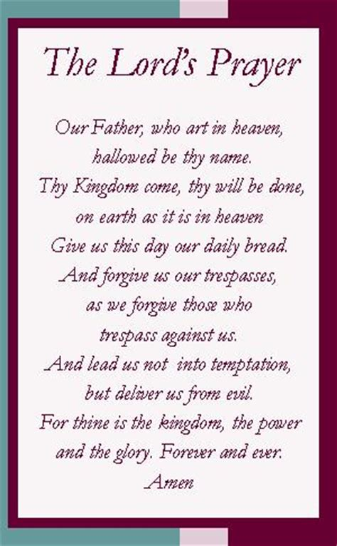 Printable Version Of The Lord S Prayer | 8 best images of the lord s prayer free printable