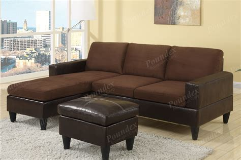 Leather And Microfiber by Sectional Sofa In Microfiber And Leather W Free Ottoman