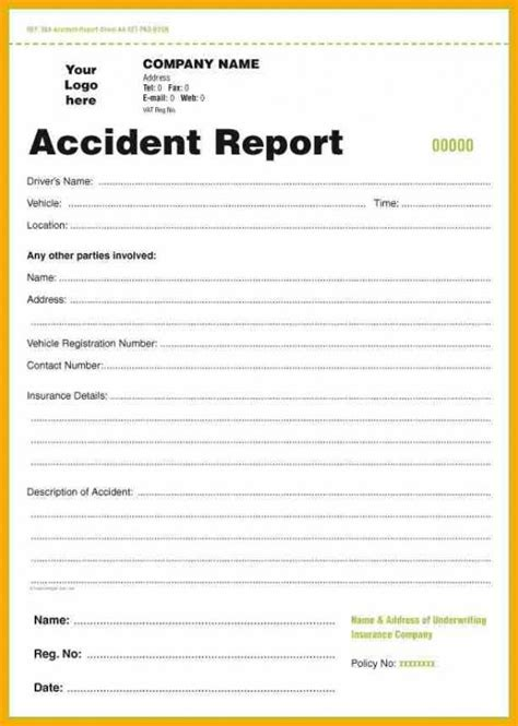 Crash Report Template Mo Report Form Template Business