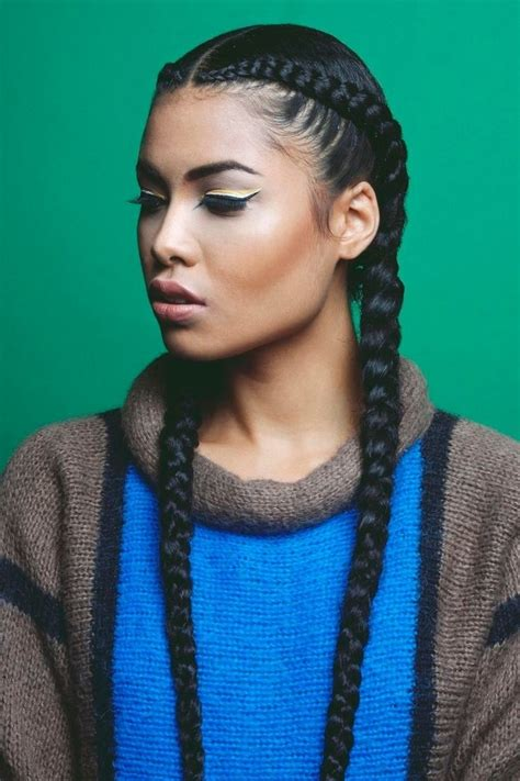 two cornrow braided hairstyle two cornrows styles cornrow braid
