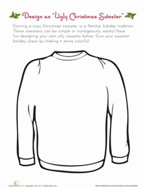 free ugly sweater printables sweater worksheet education