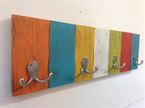 handmade coat hook rack with vibrant colors