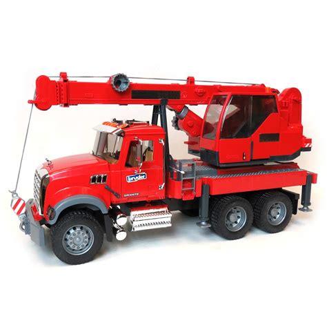 bruder truck 1 16th mack granite crane truck by bruder