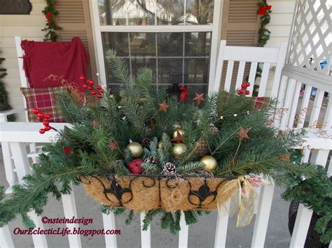 balcony christmasdecorations balcony basket via our eclectic our house porch country