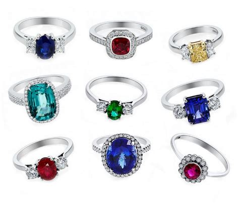 coloured gemstone engagement rings