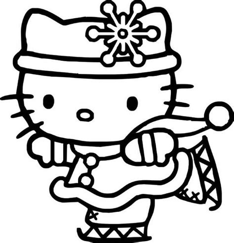 christmas coloring pages kitty hello kitty ice skating hello kitty coloring pages