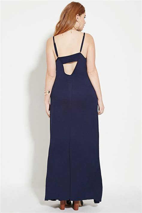Ip23989 Maxi Denim Navy forever 21 plus size cami maxi dress in blue lyst