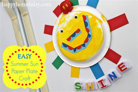 Easy Paper Plate Crafts - easy summer sun paper plate craft happy home