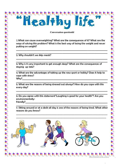 conversation questions quot health quot worksheet free esl printable worksheets made by teachers