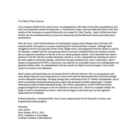 personal letter  recommendation  student
