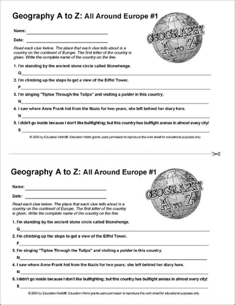 Geography Worksheets High School by Geography A To Z All Around Europe 1 Education World