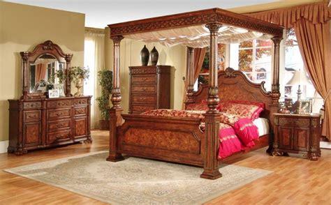 post queen bedroom set canopy bed furniture marble top