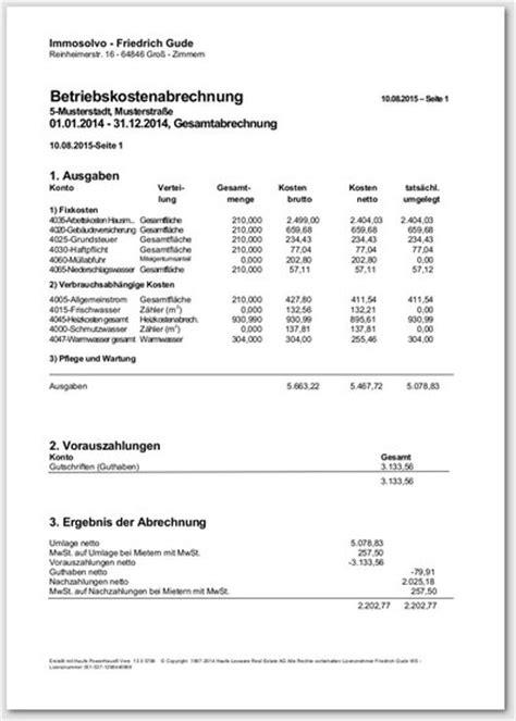 Muster Nebenkostenabrechnung Muster Nebenkostenabrechnung Mietnebenkostenabrechnung Bundesweit