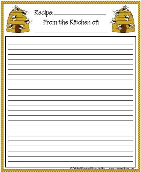 4x6 Printable Recipe Card Template by Recipe Card 4x6 Bee Hive Free To Print Selbstgemacht