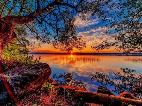 beautiful hd wallpaper sunset lake willow stones