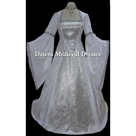 Pagan Style Wedding Dresses by White And Silver Renaissance Pagan Wedding Dress