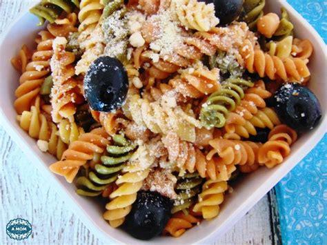 tri colored pasta with feta cheese