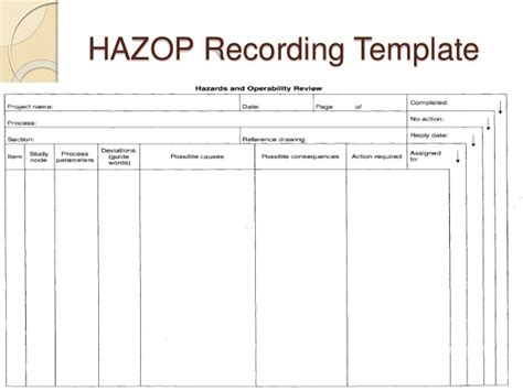 hazop template xls 28 images blank chart template