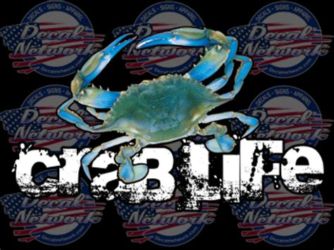 Auto Decal Installation In Maryland by Crab Color Blue Crab Vinyl Car Truck Window Decal