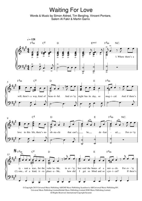 tutorial piano waiting for love waiting for love sheet music by avicii easy piano 122353