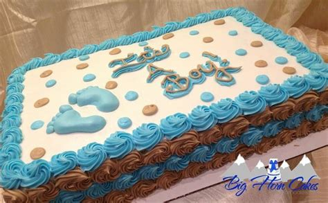 Baby Shower Sheet Cakes For Boy by Baby Shower Sheet Cake With Polka Dots And Rosette